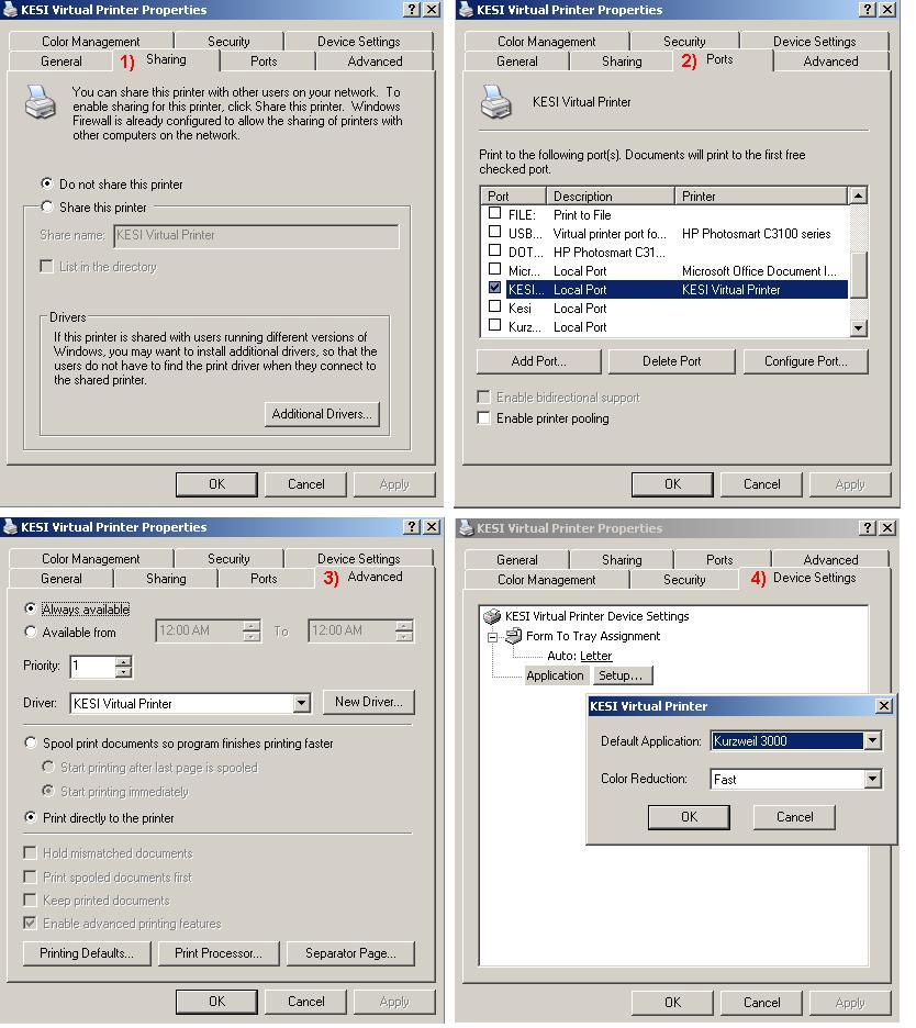 KESI Virtual Printer Property Settings